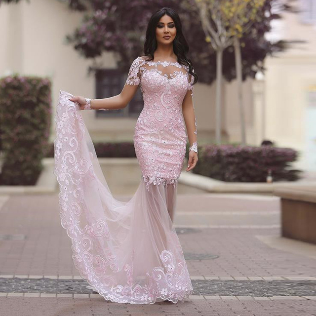 f090a6d5c7 New Light Pink Mermaid Lace Women Long Prom Dresses Long Sleeves See  Through Back Party Sexy Evening Dresses