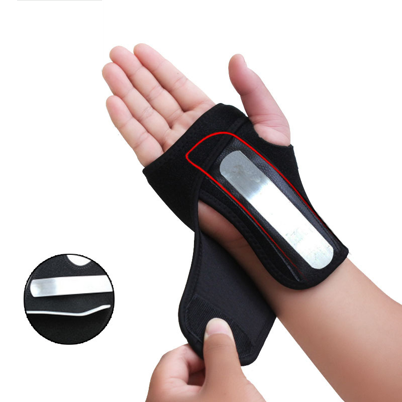 1 Pcs Steel Plate Wrist Brace Hand Palm Support Fracture Fixation Brace Gloves Fitness Outdoor Exercise Joint Injury Hand Brace