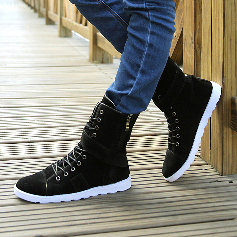 a1c8a1201b2 US $32.85 30% OFF|2018 Autumn Winter Men Boots Tidal Current Male High top  Shoes Men Canvas Shoes Men Rivet Brand Casual Shoes-in Basic Boots from ...