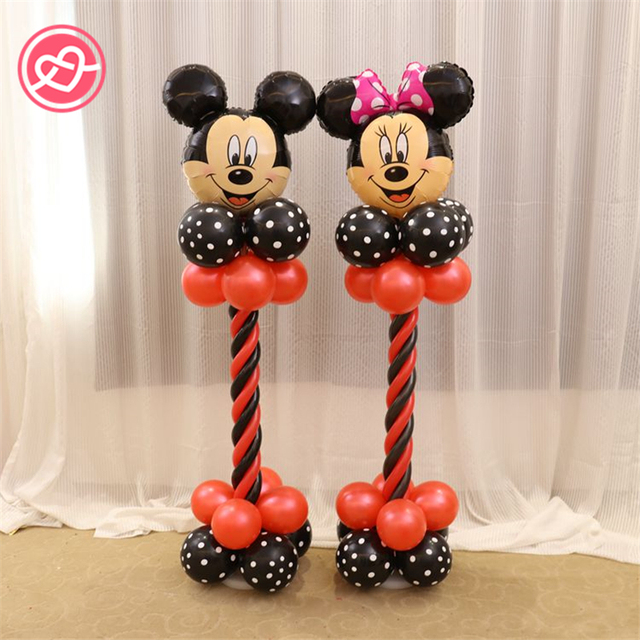 new 1 set mickey mouse balloons party decoration black red dotmagiccolumn base