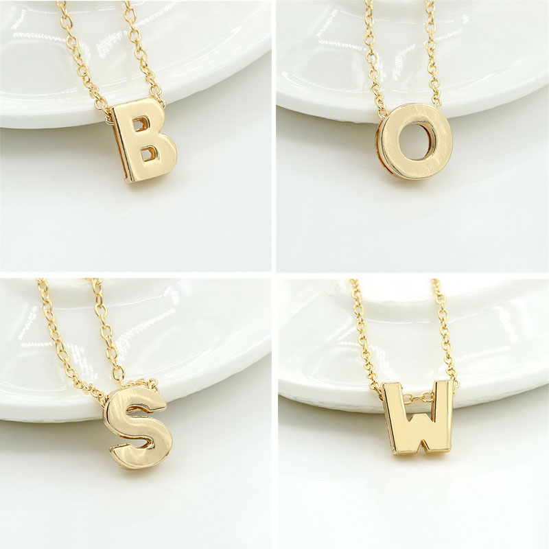 Fashion Personalized Alphabet Pendant Necklace Women Girls DIY Letter Necklace Minimalist Jewelry For Bridesmaid