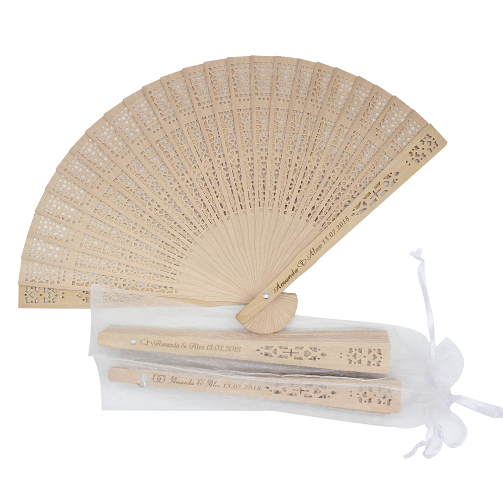 50Pcs Personalized Engraved Wood Folding Hand Fan Wooden Fold Fans Customized Wedding Party Gift Decor Favors Organza bag-in Party Favors from Home & Garden    1