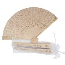 Éventail à main pliable en bois gravé personnalisé, cadeaux de mariage, décoration, sac en Organza, 50 pièces