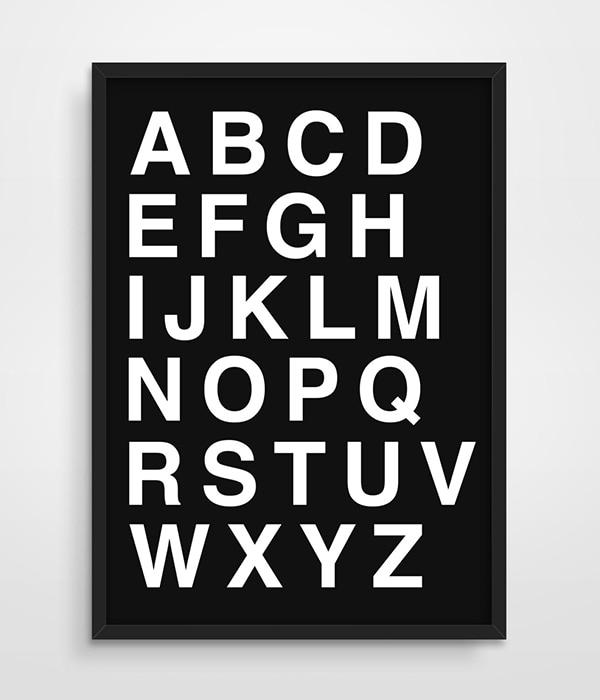 Digital Print Alphabet Poster Scandinavian Minimalism Typography Letters Office Studio