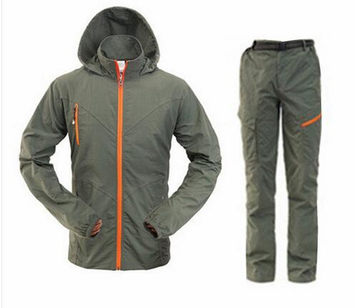 ФОТО Men Summer Outdoor Hiking UV Shirt +Pant Set Quick Dry Fishing&Hunting Clothes Sport Climbing&Camping Shirts PlusS-4XL