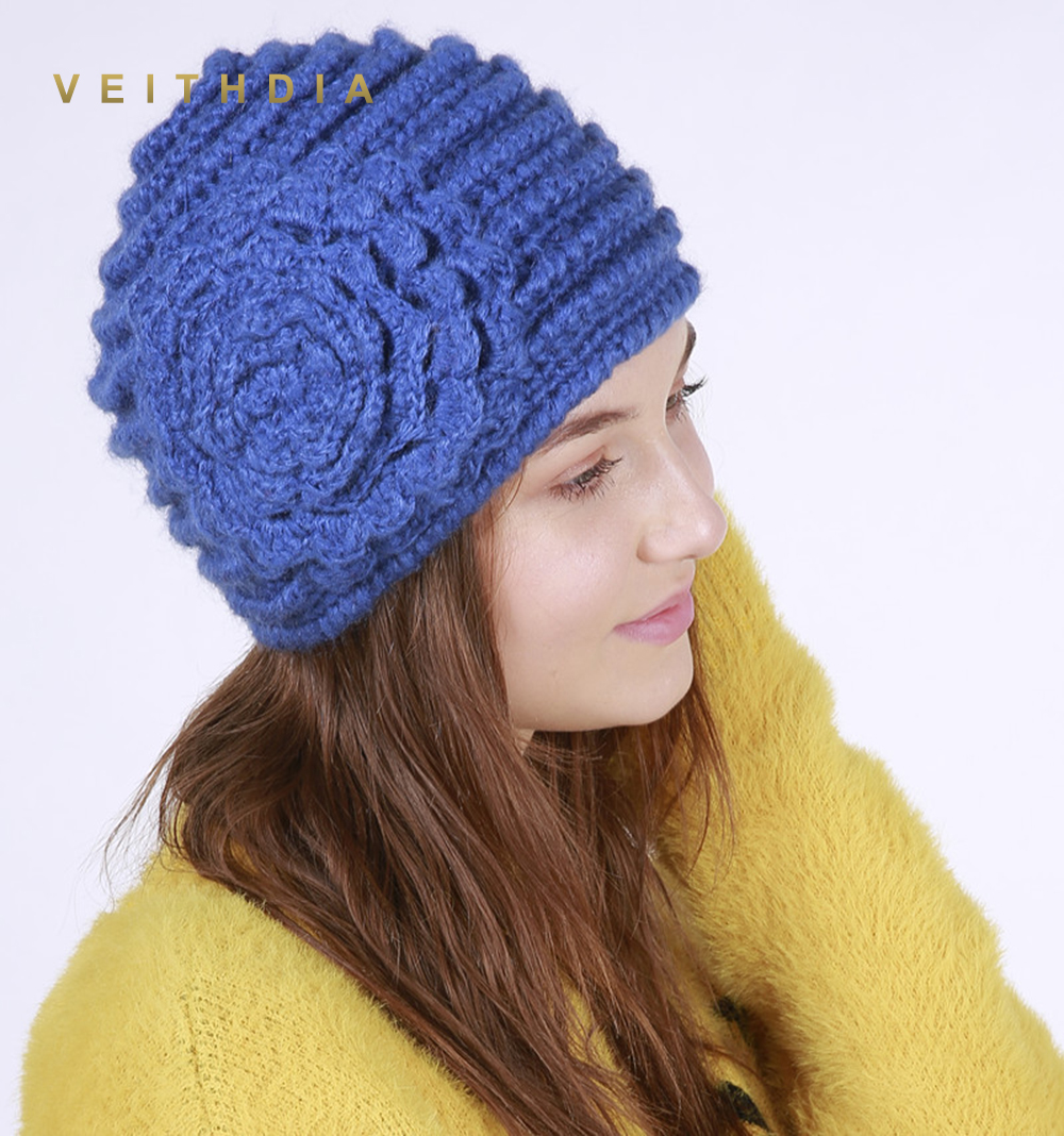 VEITHDIA 2019 Handmade autumn Winter Knitted With Flower Hat Women Caps Bonnet Warm Baggy Winter Hats For Girls   Skullies     Beanies