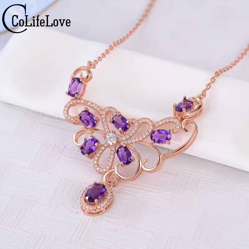 Luxueux naturel améthyste collier 8 pcs naturel améthyste collier pendentif solide 925 argent de bijoux de mariage romantique fille cadeau