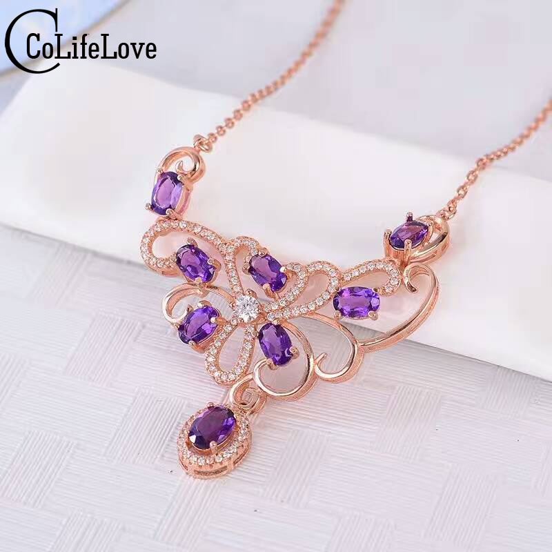 Luxurious natural amethyst necklace 8pcs natural amethyst necklace pendant solid 925 silver wedding jewelry romantic girl gift