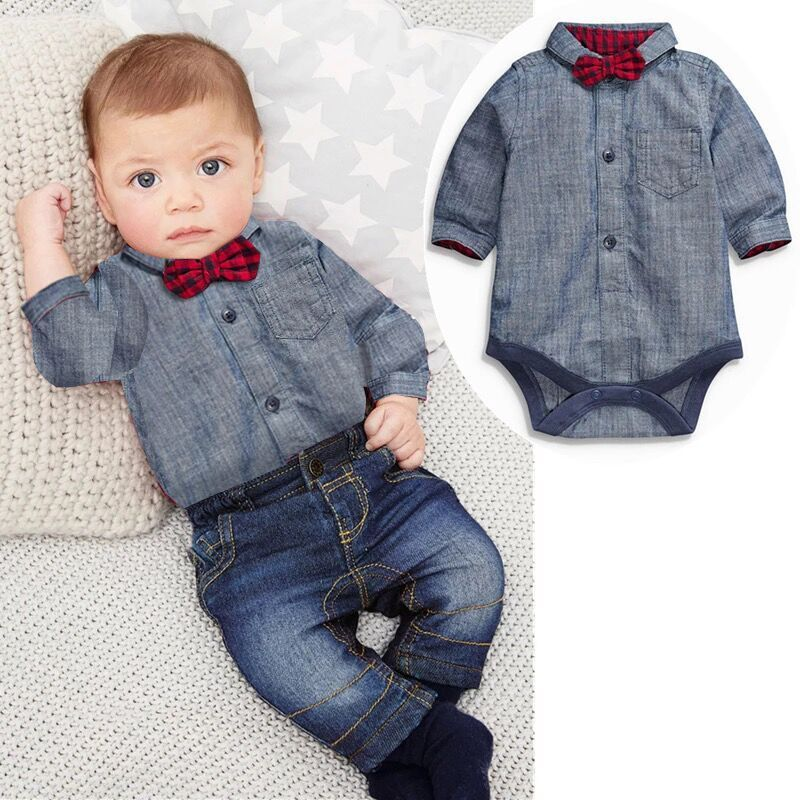 Autumn Baby Boy Clothes For Bebes Shirt With Bow + Jeans Newborn Baby clothes Baby Boy Casual Clothing Set Baby Grey Clothes baby boy clothes monkey cotton t shirt plaid outwear casual pants newborn boy clothes baby clothing set