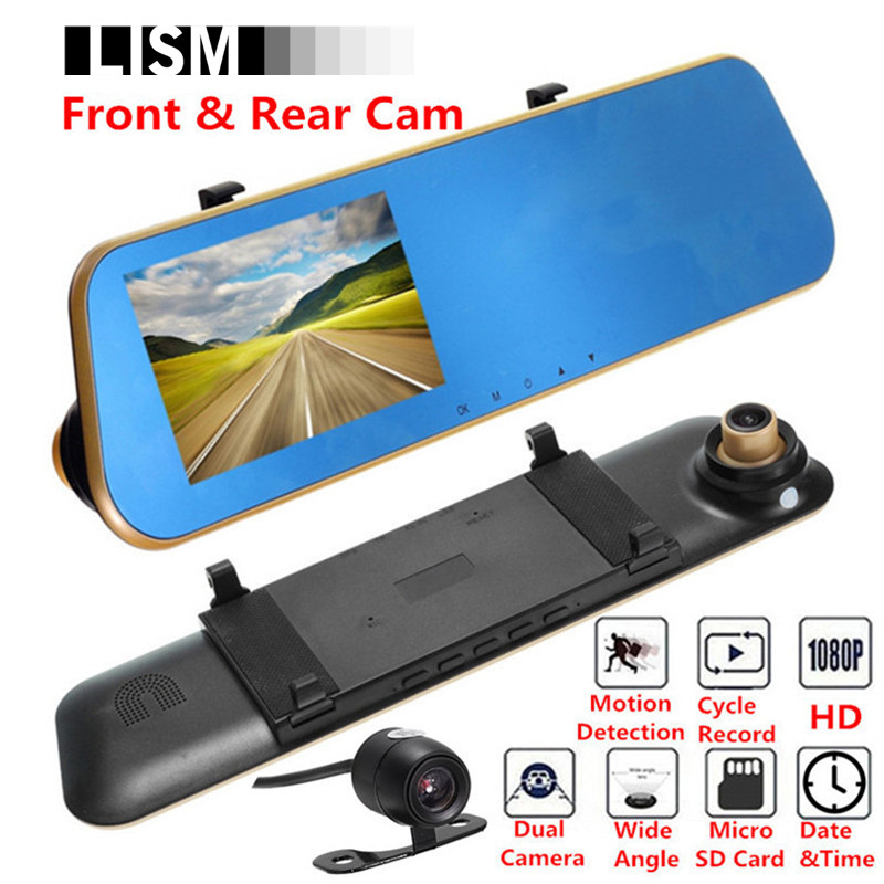 3-in-1 1080P HD 140 Degree Wide Angle Car DVR & Rear View Mirror Kit Inside Interior Mirrors Rearview Back Front Rear Cam Vision 4 1 tft 1080p hd cmos wide angle car dvr rearview mirror w anions air purifier black blue