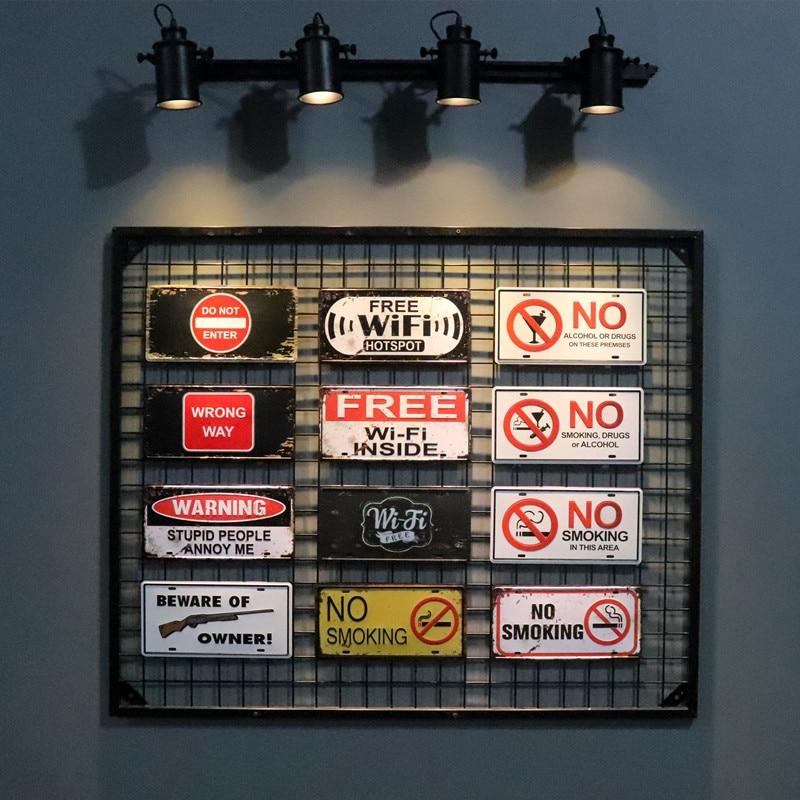 DL-Винтаж Бесплатный Wi-Fi не курить стены Надписи номерной знак личности украшения Бар Паб Творческий Стене Висят Знаки