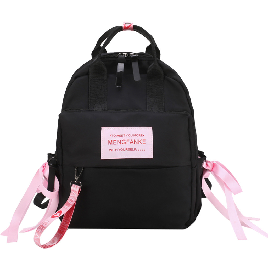 Fashion Women Nylon Scarf Large Capacity Student Backpack Travel Couple Bag High Quality Solid Bag Simple Phone Pocket dropship(China)
