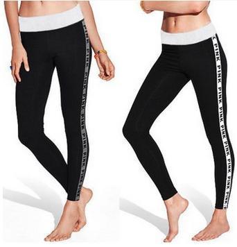 Fitness athleisure PINK women leggings 2017 new arrival striped slim splice black long  PINK legging ladieswear