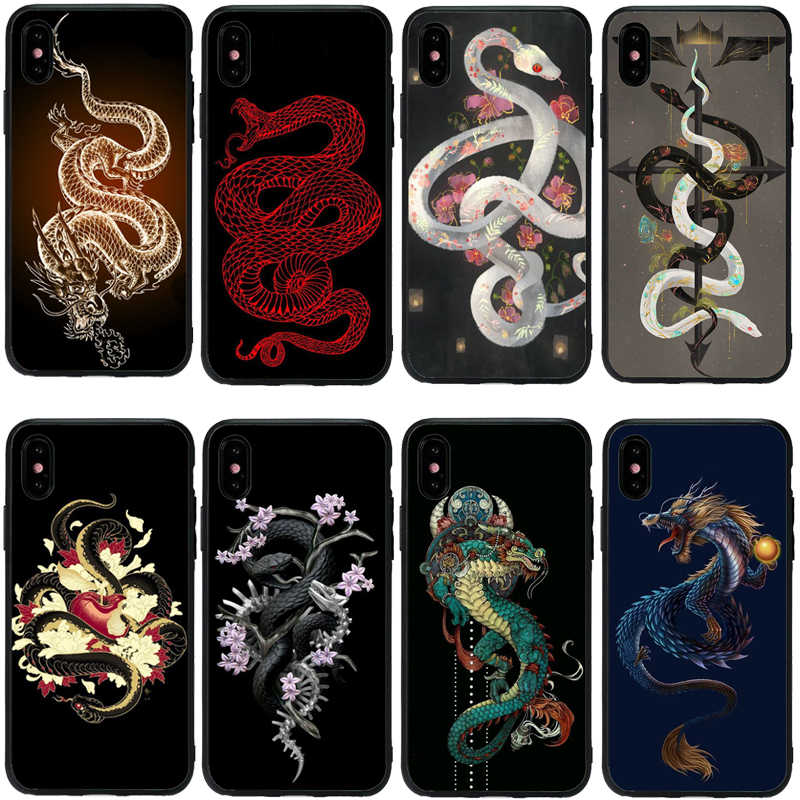 Bloem draak slang Coque Shell Soft TPU Siliconen Telefoon Case Voor iPhone 11 11Pro MAX 5 5S 6 6S 7 7plus 8 8Plus X XS MAX XR 10