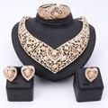 Nova Exquisite Dubai Conjunto de Jóias de Luxo Banhado A Ouro de Cristal Grande Colar de Traje de Casamento Nigeriano Africano Pérolas Conjunto de Jóias