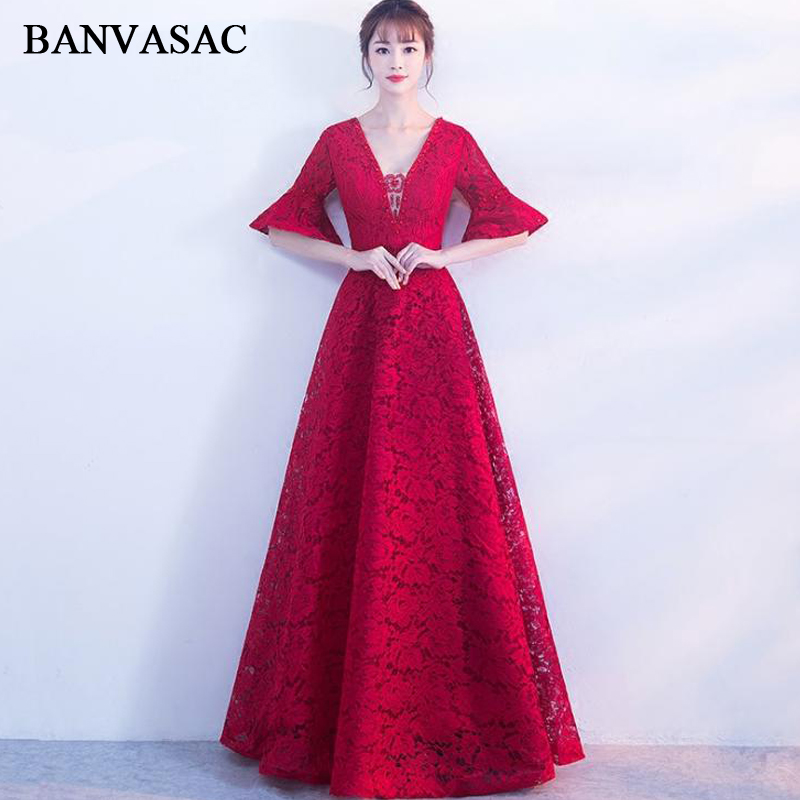 BANVASAC 2018 Beading V Neck Embroidery A Line Long   Evening     Dresses   Party Lace Flare Half Sleeve Backless Prom Gowns