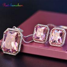 Rainbamabom Vintage Real 925 Sterling Silver Sets Pink Quart