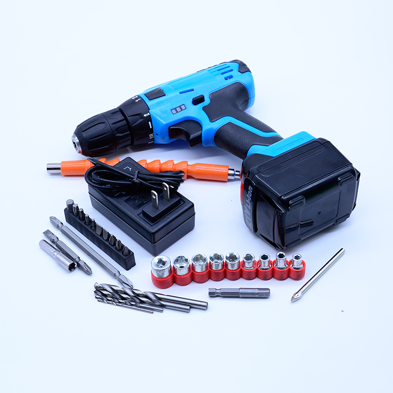 21V Tow-speed selection Cordless electric drill +1pc *Rechargeable Battery electric screwdriver power tool +27PCS accessories 4 pcs 9 6v 2000mah rechargeable battery pack power tool battery cordless drill for makita 9120 9122 pa09 6207d ni cd bateria