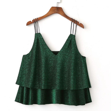 Women Layers Sparkle Off Shoulder Sleeveless Camis Top Shirt In Green Color 2017 Spring Summer New Arrivals