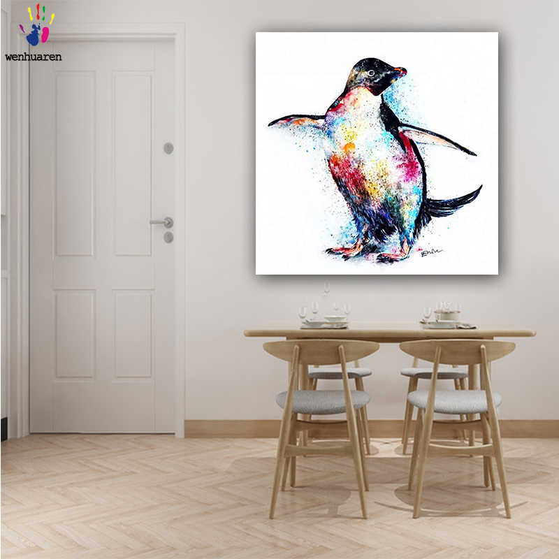 DIY colorings pictures by numbers with colors Color the penguin picture drawing painting by numbers framed Home