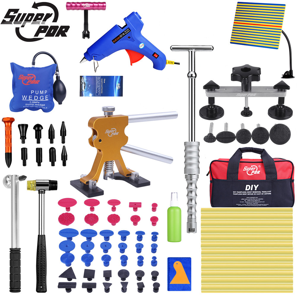 Super PDR Tools Auto Dent Puller Suction Cup Paintless Dent Removal Tool Air Pump Wedge Hand Tools Set With Line Board Tool Bags|Hand Tool Sets| |  - title=