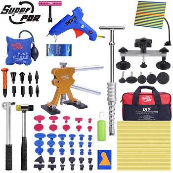 Super PDR Werkzeuge Auto Dent Puller Saugnapf Paintless Dent Entfernung Werkzeug Luftpumpe Wedge Hand Werkzeuge Set Mit Linie bord Werkzeug Taschen