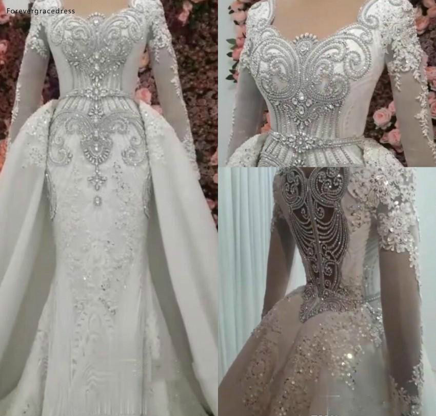New Arrival Mermaid Long Sleeves Wedding Dresses 2019 Vintage Rhinestones Beaded Garden Country Bride Bridal Gowns Plus Size