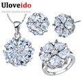 Uloveido novias de la boda accesorios de la joyería de moda bijoux anillo pendientes collar conjuntos para mujeres mariage t560