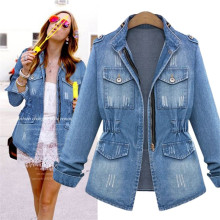 5XL New Denim Jacket Light Blue Bomber Fashion Jeans Casual Ripped Outwear Slim Long Sleeve Black Jack Coat