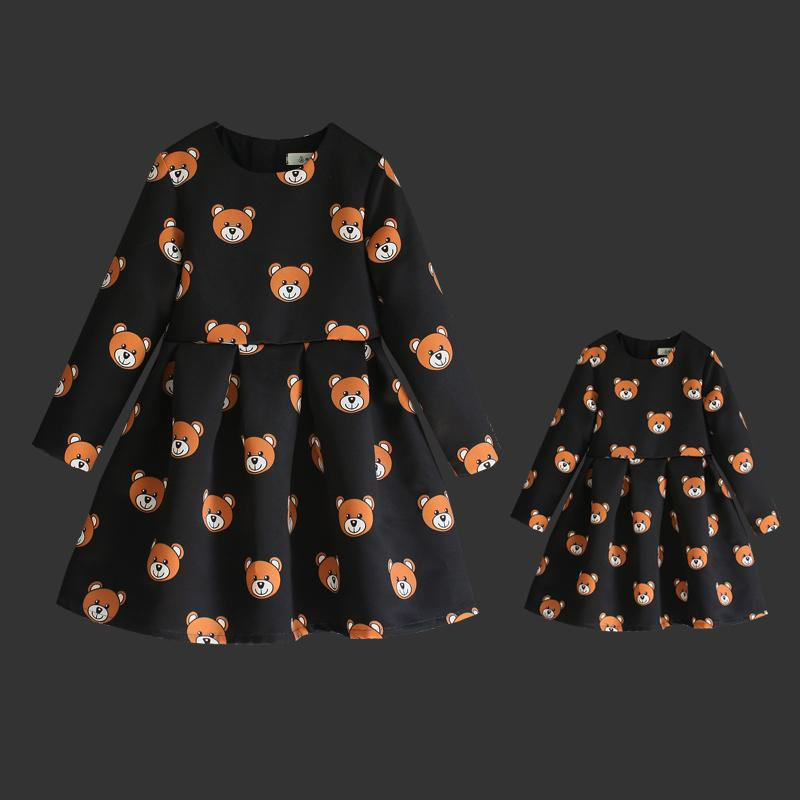 Family match clothes cartoon bear prints high quality children piece set women girl long pleated skirts mother daughter dresses