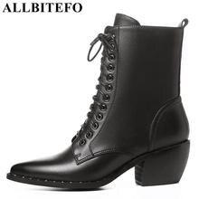 66f7a0a8 ALLBITEFO tamaño: 34-42 cuero genuino dedo del pie puntiagudo tacón grueso mujeres  botas de marca botas de tacón alto tobillo ma.