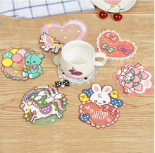 (10 Pcs/Lot) Cartoon Love Heart Strawberry Horse Bear Rabbit Clock Food Dish/Coffee/Cup Mat Coaster