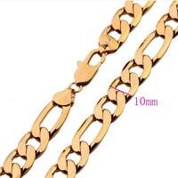 10 ММ широкий желтое золото заполненные фигаро цепи ожерелье мужская твердые цепи подарок 60 см долго