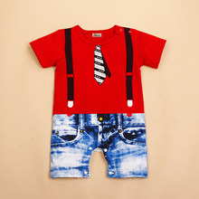 Cotton Baby Boys Kids Newborn Infant Red and White Colors Overalls Romper Shorts Outfit Clothing(China)