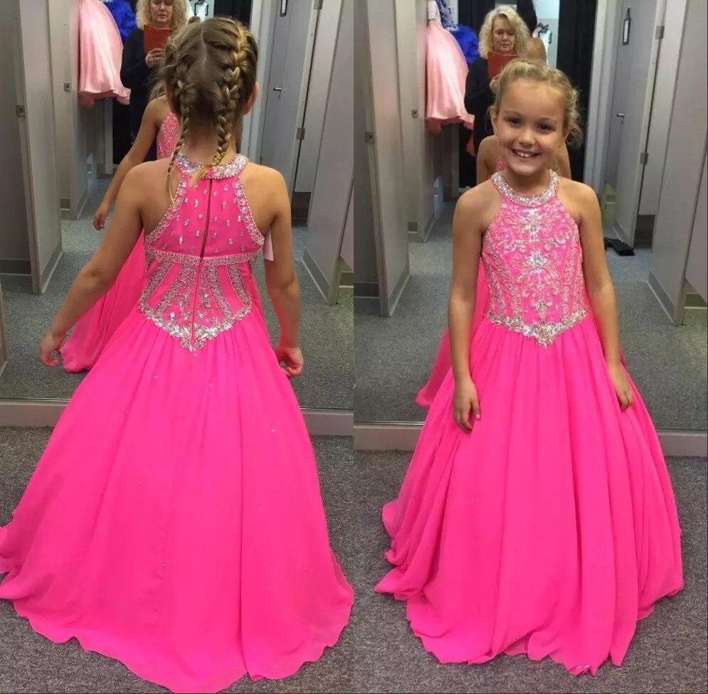 2019 Fuchsia Little Girls Pageant Dresses Beaded Crystals A Line Halter Neck Kids Toddler Flower Prom
