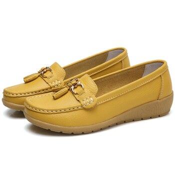 2018 الشقق المرأة جلد البقر الشقق النساء أحذية الانزلاق على أحذية نسائية الديكور حجم كبير 35-44 1