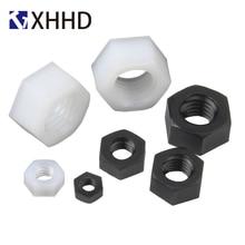 Black White Hex Nylon Nut Metric Thread Plastic Insulation Hexagon M2 M2.5 M3 M4 M5 M6 M8 M10 M12 M14 M16 M18 M20