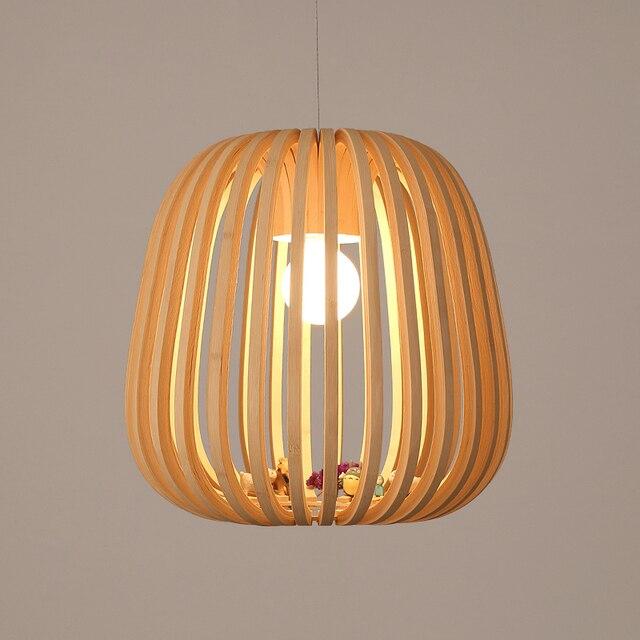 Art décoration village idyllique bambou pendentif lumières creative suspension lampe en bois à la main