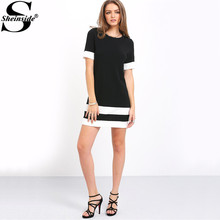 Sheinside Ladies Color Block Casual Mini Dresses New Autumn Style Black White Patchwork Crew Neck Short Sleeve Shift Dress