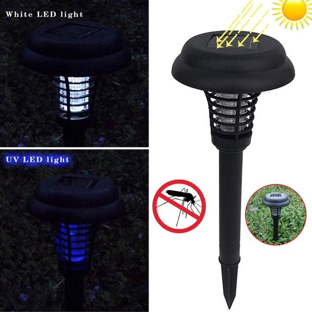 Summer Outdoor Killing Mosquito Solar Powered LED Garden Lawn Lamp Light Anti Mosquito Pest Bug Insect Killer