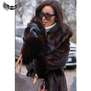 Image 5 - BFFUR 2020 Chegada Nova Real Mink Fur Coat Inverno Casacos Quente 120 centímetros Longo Genuine Mink Casacos Com Capuz casacos quentes Mulher