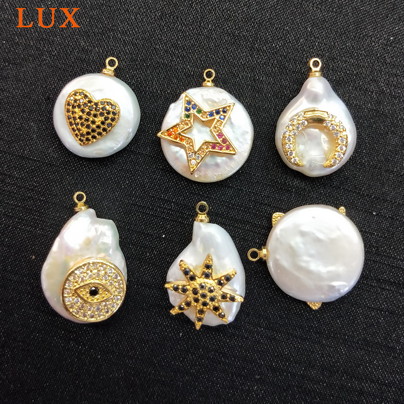 natural White Coin Pearl micro CZ pave copper charm gold color plated star heart moon shape Pearl Pendant DIY jewelry findings in Pendants from Jewelry Accessories