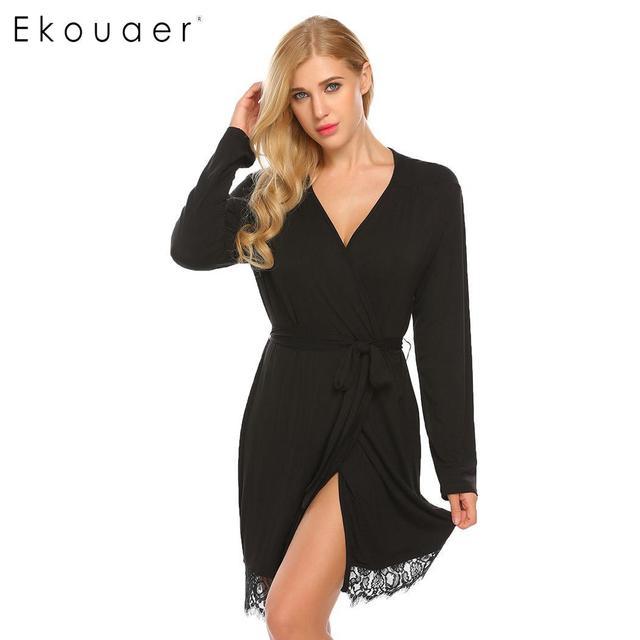 Ekouaer Women Sleepwear Kimono Robe Nightwear Solid Lace-trimmed Long Sleeve Spa Bathrobes with Belt Sexy Lingerie Robes Femme