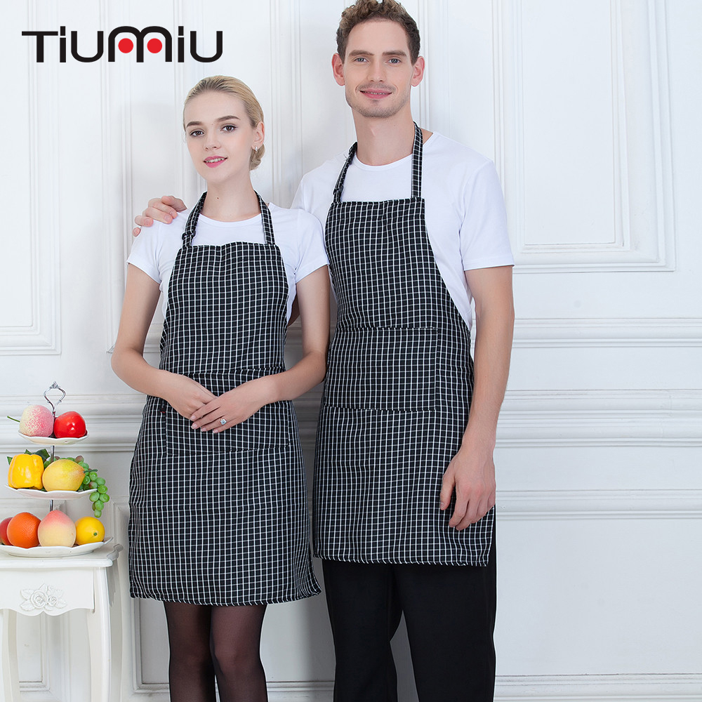 Little Grid Hanging Neck Chef Aprons High Quality Unisex Kitchen Hotel Coffee Shop Bakery Chef Waiters Cleaning Work Wear Aprons