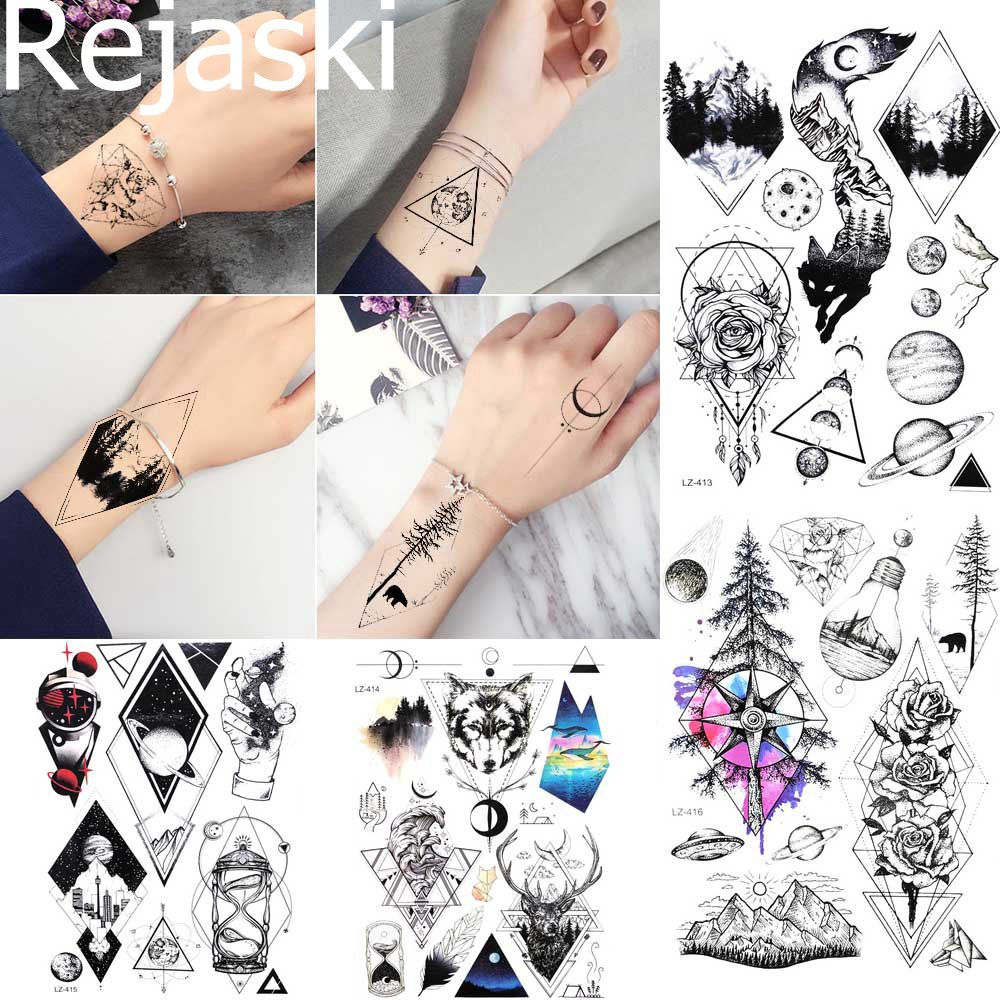 Rejaski-tatuajes temporales para mujer, tótem de árbol y brazo para el cuerpo, tatuajes impermeables de muñeca Foream para hombre, tatuaje falso negro, planeta geimétrico