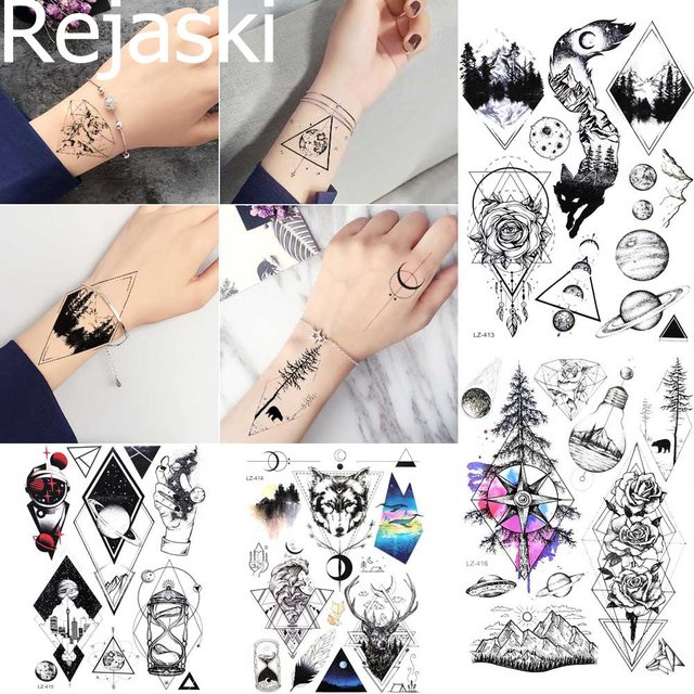 7dd978f35 Rejaski Temporary Tattoo Stickers Women Body Arm Tree Totem Waterproof  Tatoo Wrist Foream Men Black Fake Tattoo Geimetric Planet