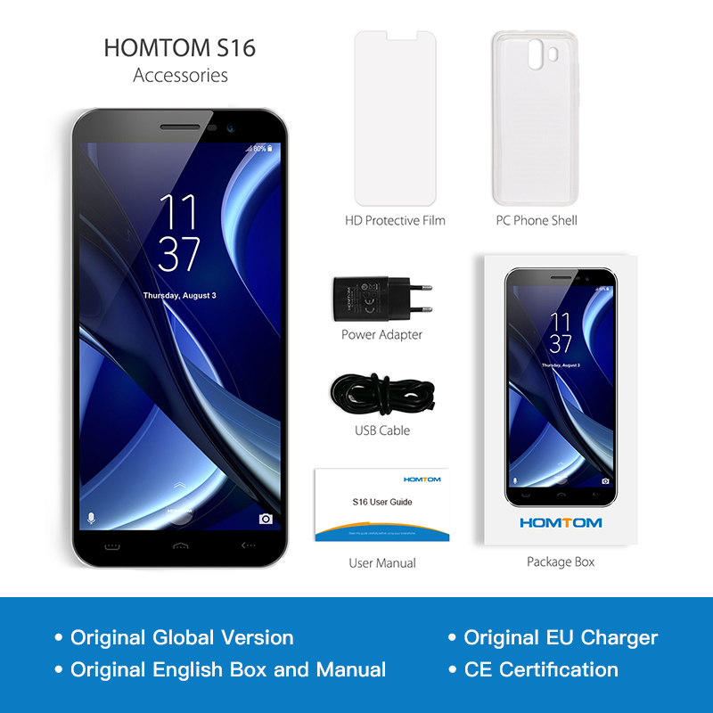 Image 5 - Original HOMTOM S16 Fingerprint Mobile Phone Android 7.0 5.5inch Screen 2G RAM 16G ROM 13MP MTK6580 Quad Core 3000mAh Smartphone-in Cellphones from Cellphones & Telecommunications