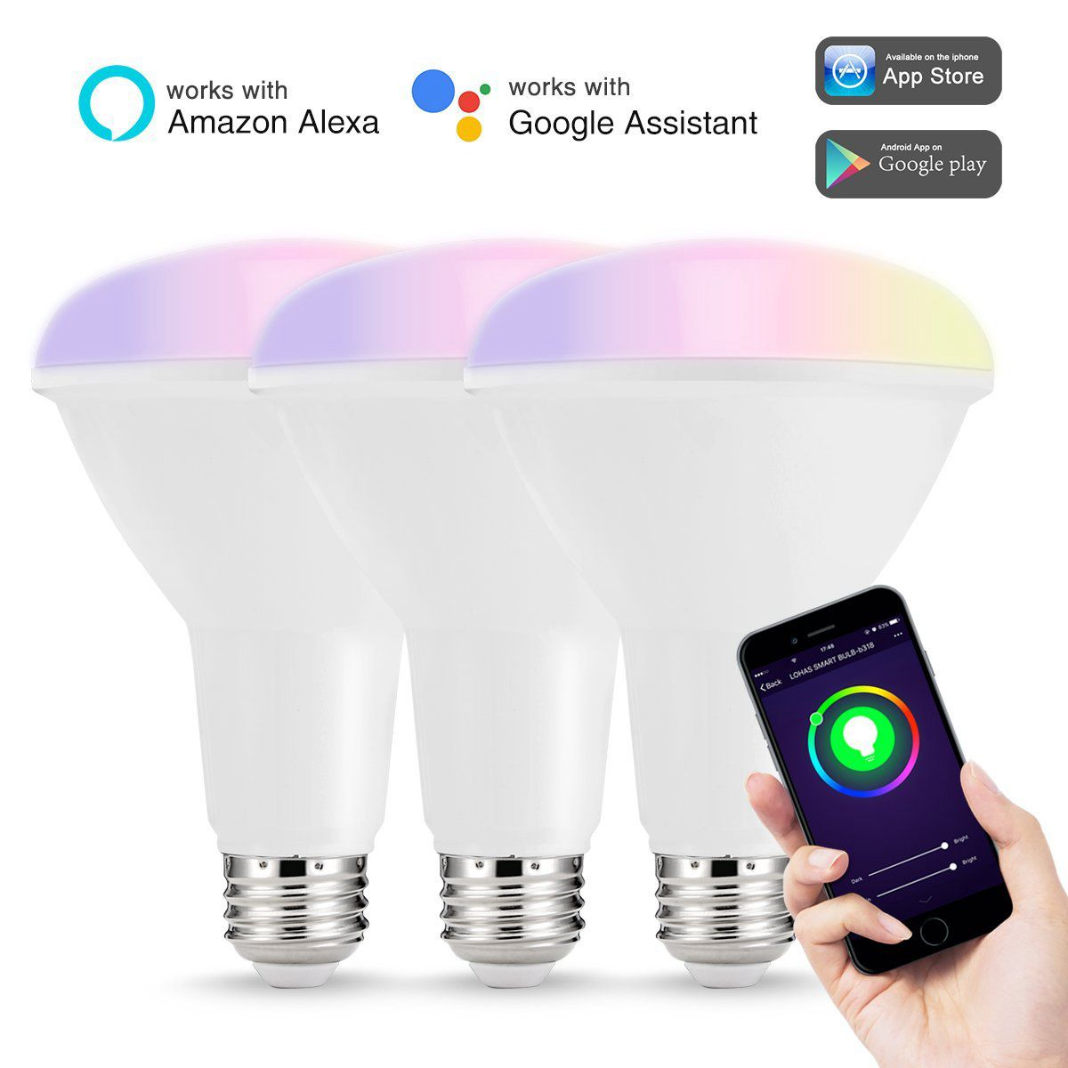 Smart LED Bulbs Multicolored WIFI LED Lights BR30 Dimmable Recessed Light Bulbs 75W 80W Equivalent Flood Light APP Control