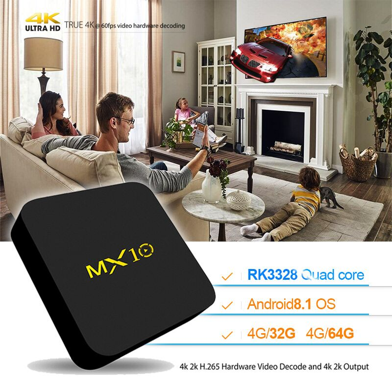 MX10 Android 8.1 TV Box DDR4 4GB RAM 32GB ROM RK3328 Quad Core 2.4Ghz WIFI BT4.0 Set-Top BOX Smart 4K Media Player pk H96 max пижама для мальчика котмаркот цвет синий 16096 размер 116