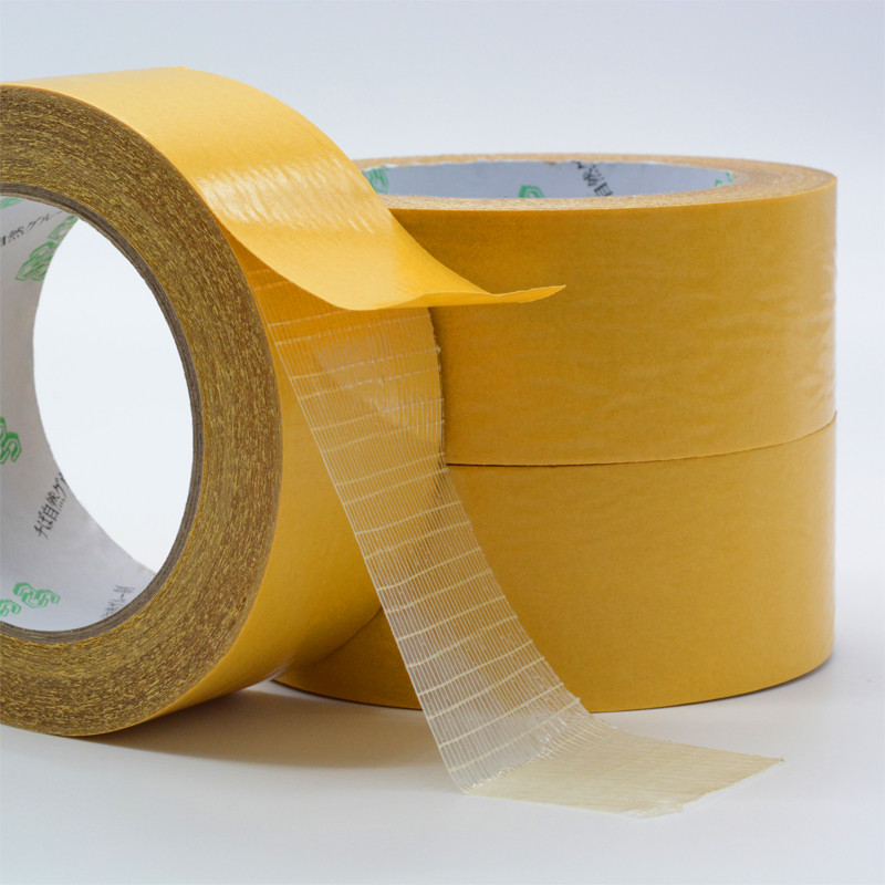 1pcs 50M Waterproof Seamless Carpet Floor Mesh Fibers Grid fiber double sided adhesive filament tape